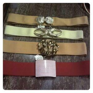 Elastic Belt Lot Horns Shells Lion Red Striped
